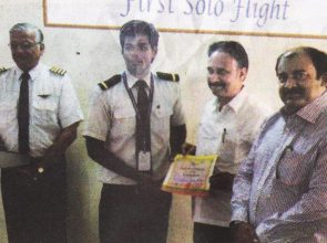 The Honble Mayor of Mysuru, Shri Bhyrappa hands over the first Solo Certificate to Cadet Kewin at Orient Flight Aviation Academy, Mysuru.