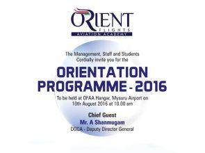 Orientation Programme 2016